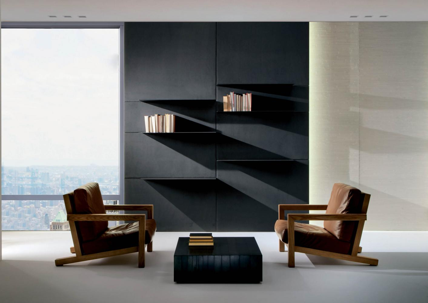 Modern armchair in leather fabric or velvet with minimal luxury design
