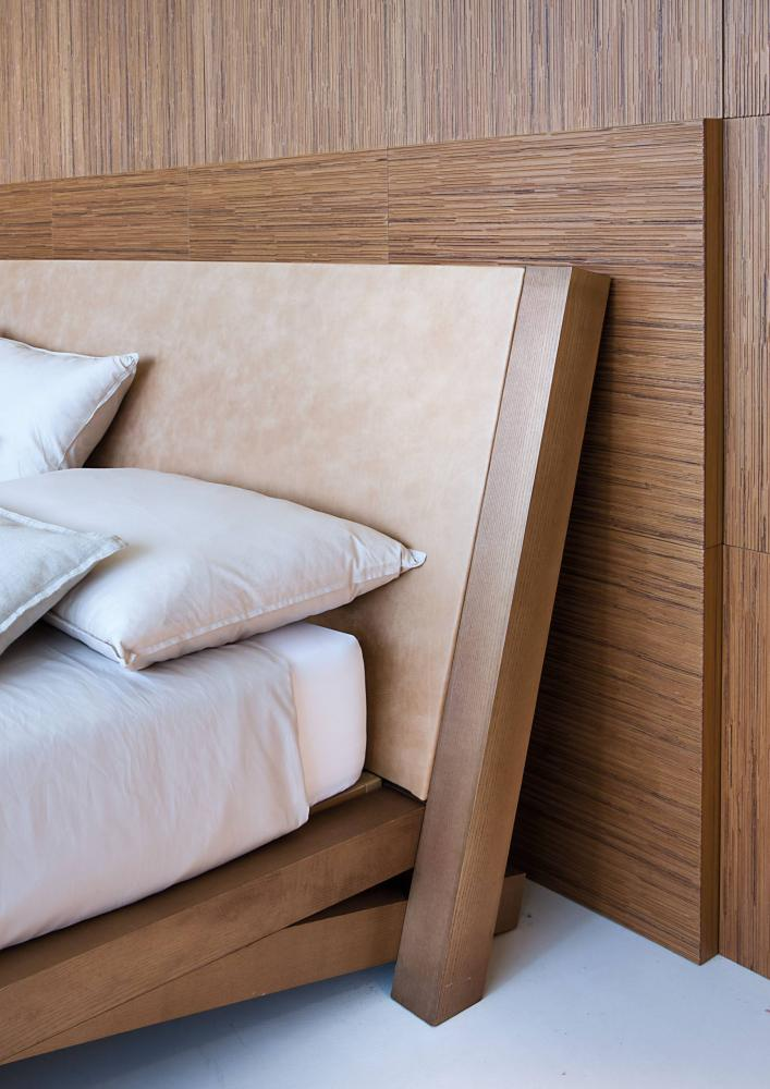 minimal design solid wood bed with headboard padded in leather, fabric or velvet