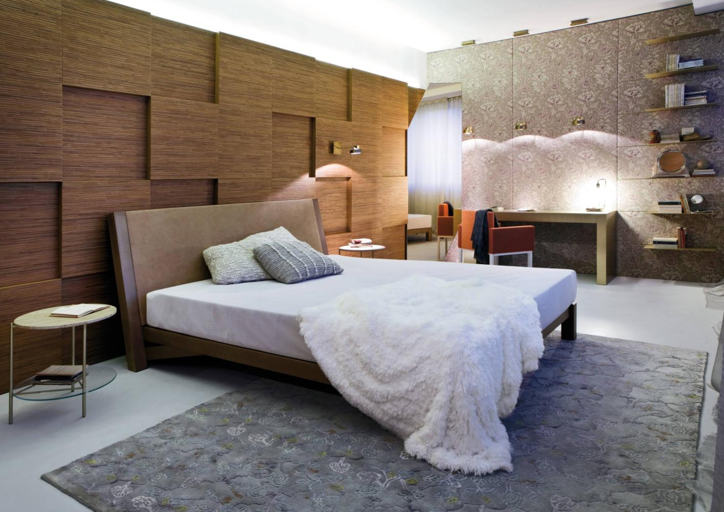 minimal design solid wood bed for luxury apartment and house
