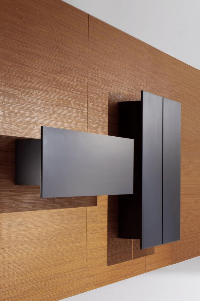 Modern hanging wall units with decorative hinged doors