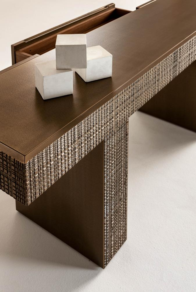 Modern console office home office desk table with drawer in Maxima liquid metal textured wood