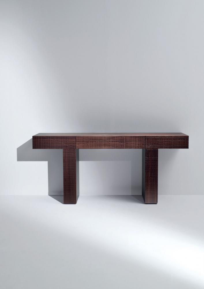 Modern wooden console table with drawer in Maxima textured wood
