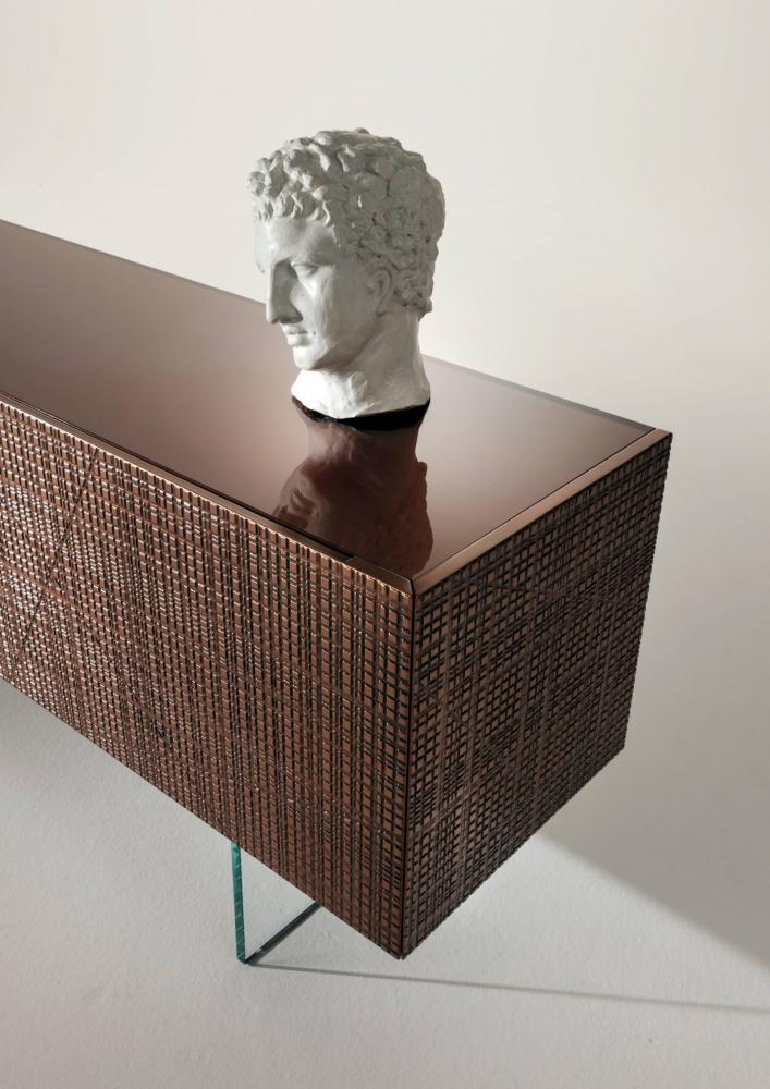 Modern sideboard B 51 with Maxima carving in bronze or liquid metal finish