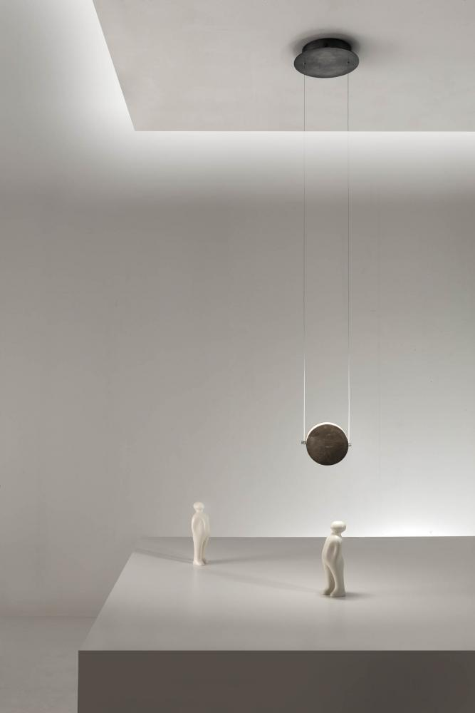 modern cirucular led suspension light in textured bronze liquid metal