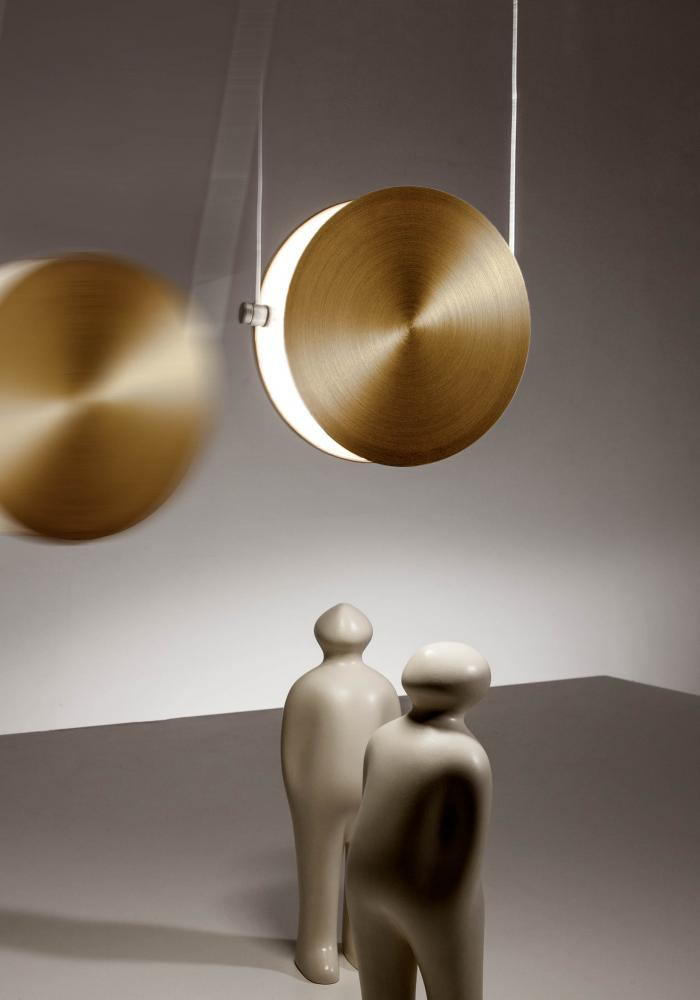 modern cirucular led suspension light in satin brass