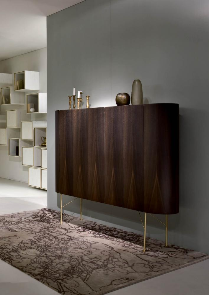 Made in Italy handcrafted luxury wooden sideboard with doors and rounded sides, drawers and shelves in Siberian ash wood and brass legs.