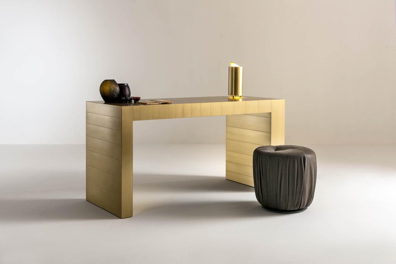ST 21 Luxury modern console table cladded in brass