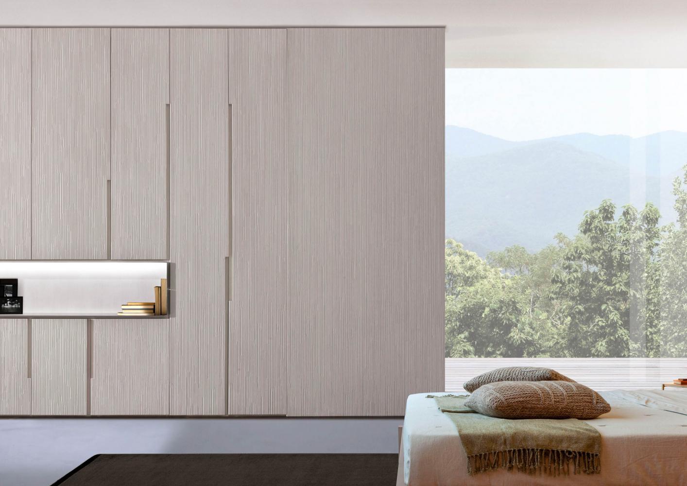 Decor custom made wooden luxury wardrobe with textured hinged doors