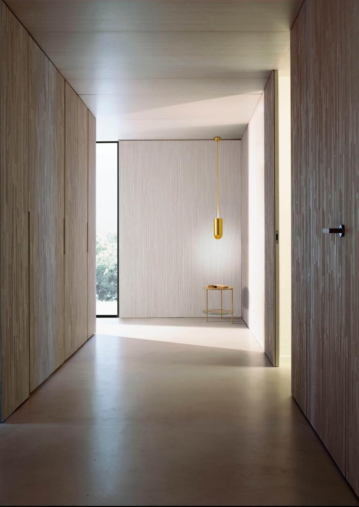 Custom made wooden wardrobe with textured hinged doors