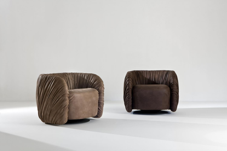 Drapè Lounge leather or velvet luxuxy swivel armchair with pleats