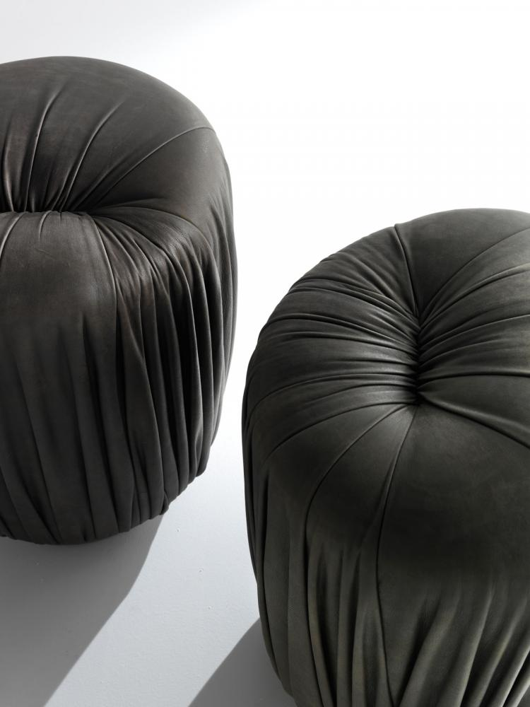 BD 71 By Bartoli Design Is A Sophisticated Low Round Upholstered Ottoman  With Metal Base That Can Be Covered With Leather Or Fabric.
