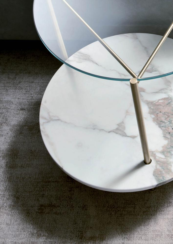 Echo Modern Low Tables Set In Brass Marble And Glass Laurameroni