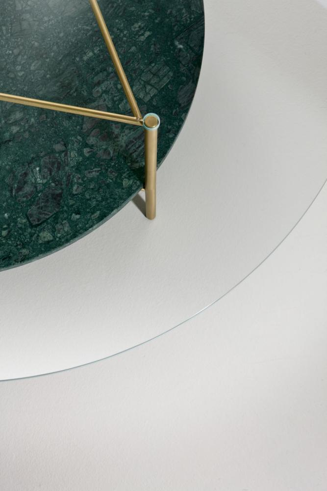 Round modern low coffee tables in brass marble and glass with minimal design