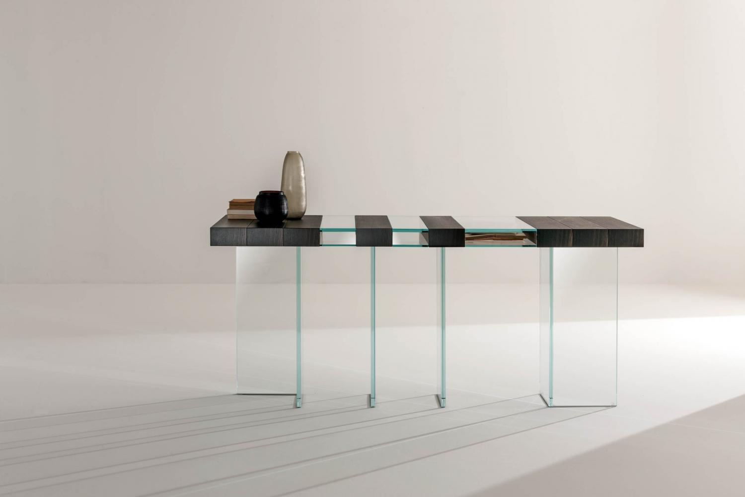 modern design luxury modular console in stone oak wood and ultra clear crystal glass