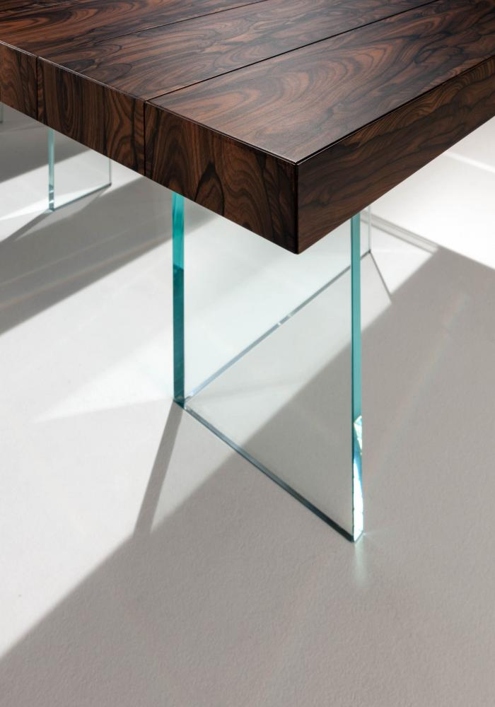 Elemento is a lxury modular rectangular table in ziricote wood and glass