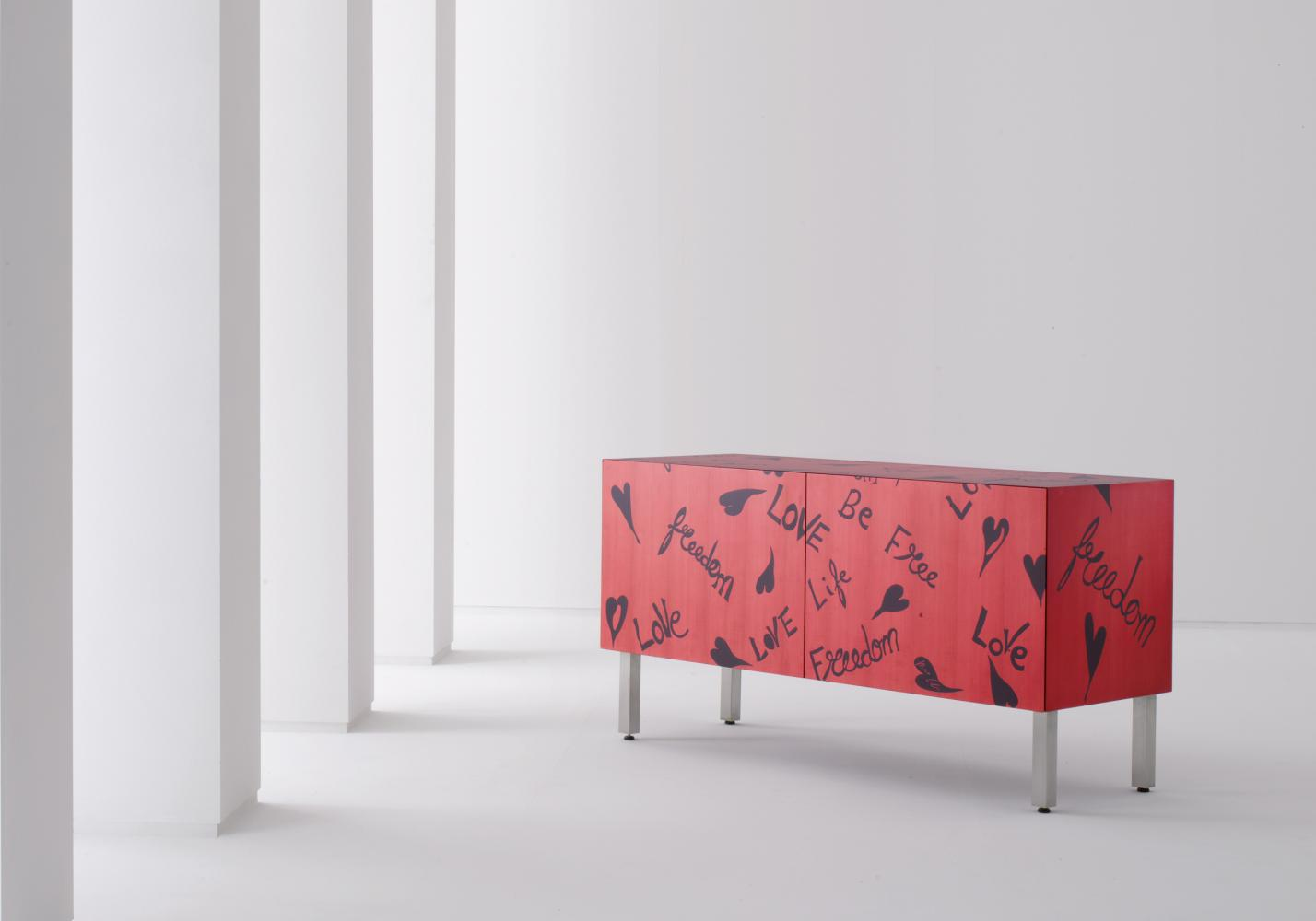 Modern limited edition sideboard in wood with inlays designed by Romeo Gigli for luxury home.