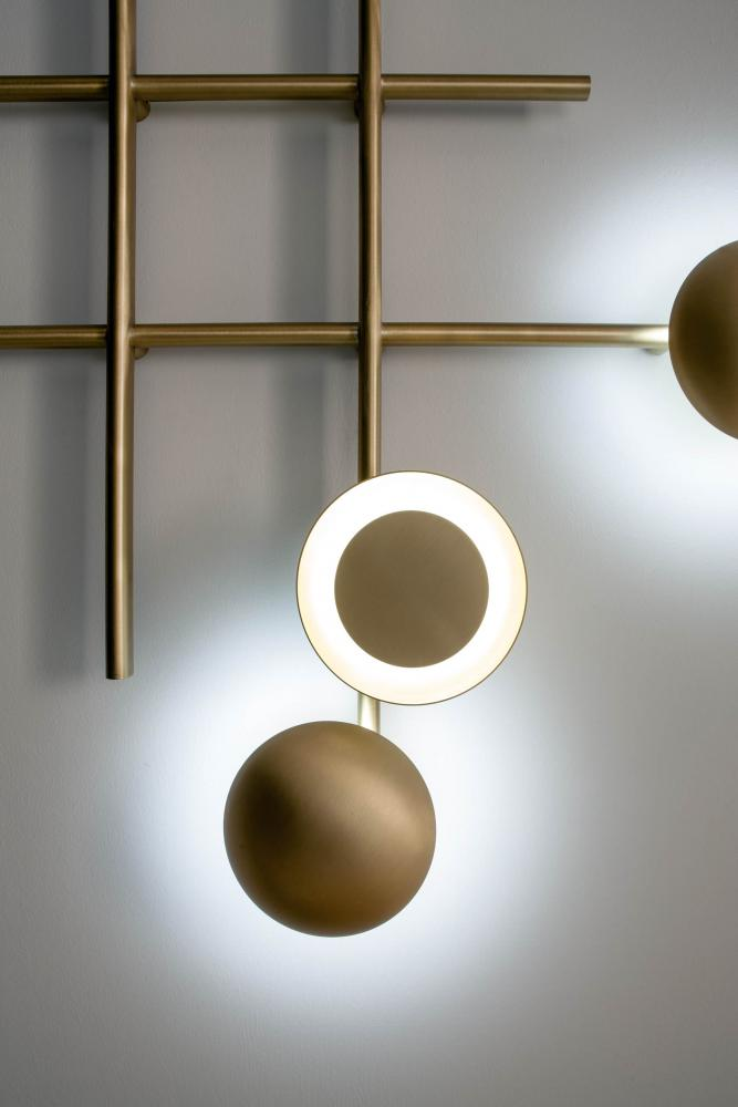 modern satin brass wall or ceiling led lamp for luxury home