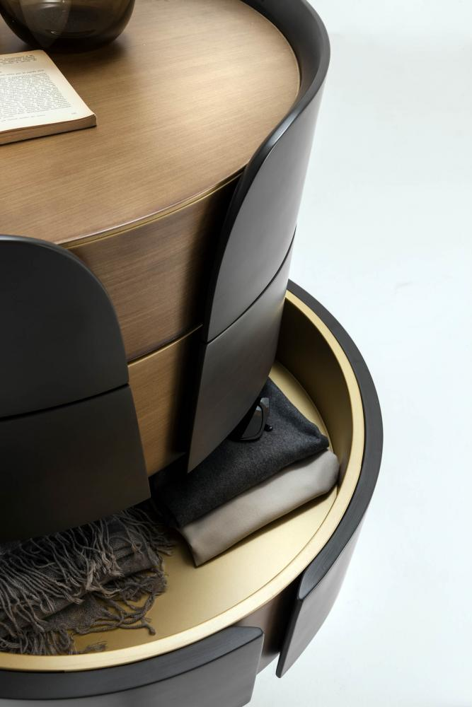 round modern design luxury chest of drawers in brushed matt lacquered wood