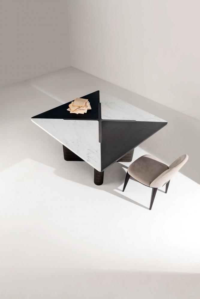 custom made modular luxury square table in marble and wood