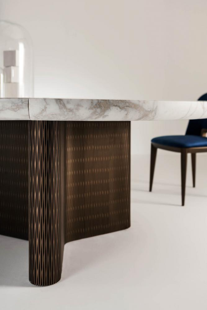 custom made modular luxury round table in marble and wood