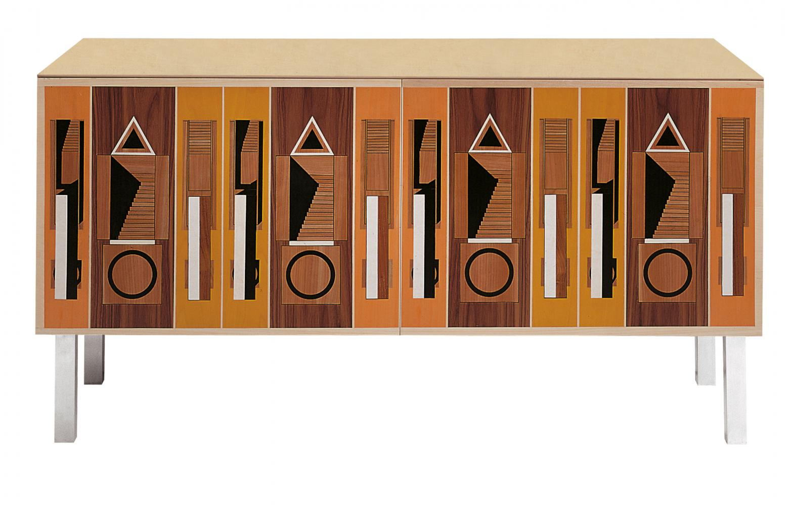 Modern limited edition sideboard in wood with inlays designed by Aldo Rossi for luxury home