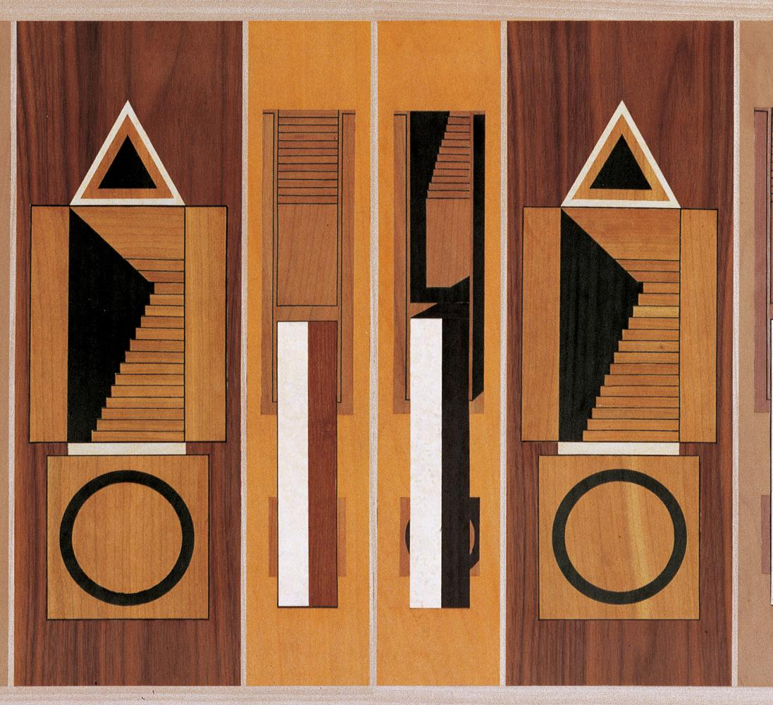 Inlays designed by Aldo Rossi for laurameroni intarsia sideboard