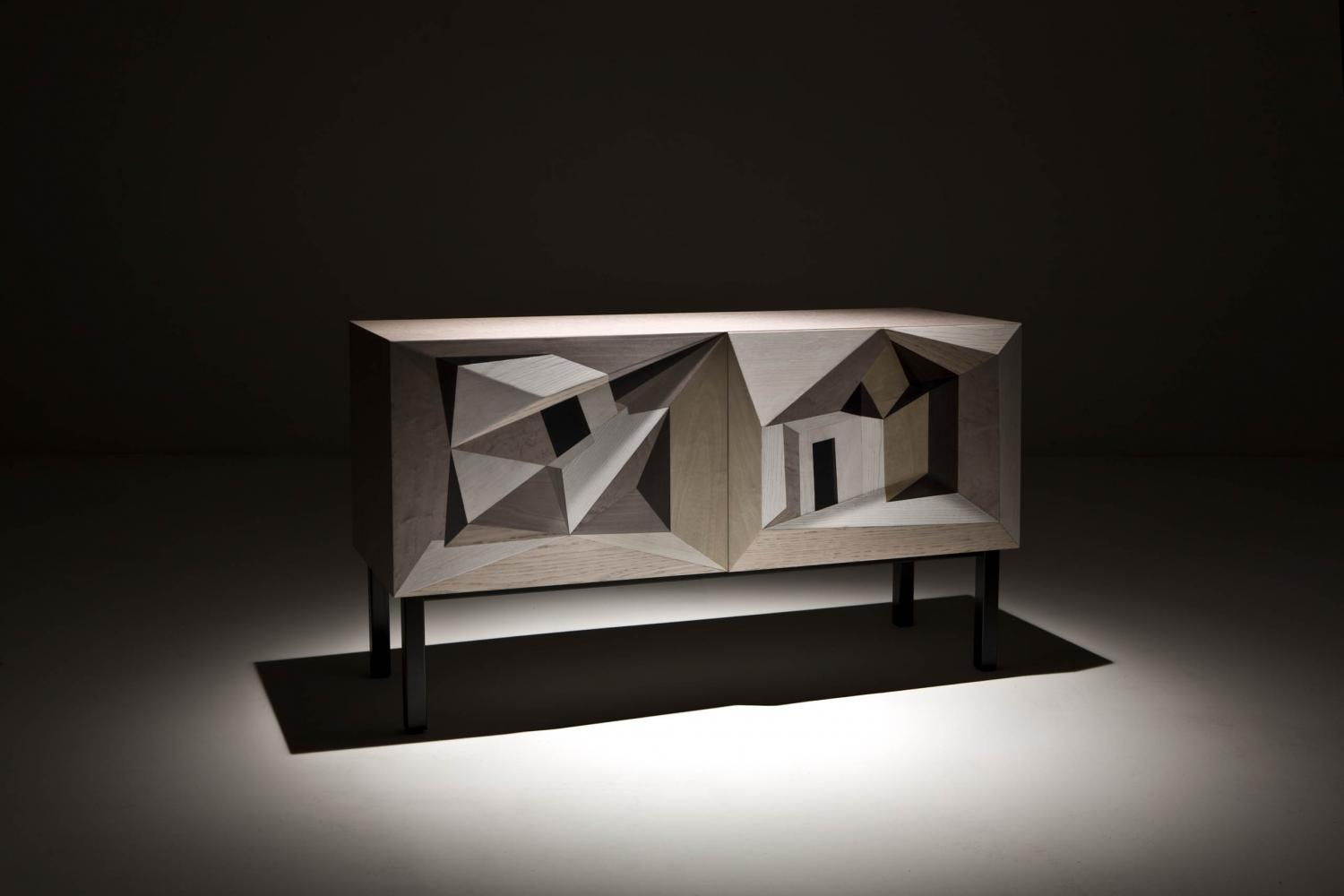 laurameroni intarsia luxury limited edition collection sideboard by marcello Jori realized with inlay