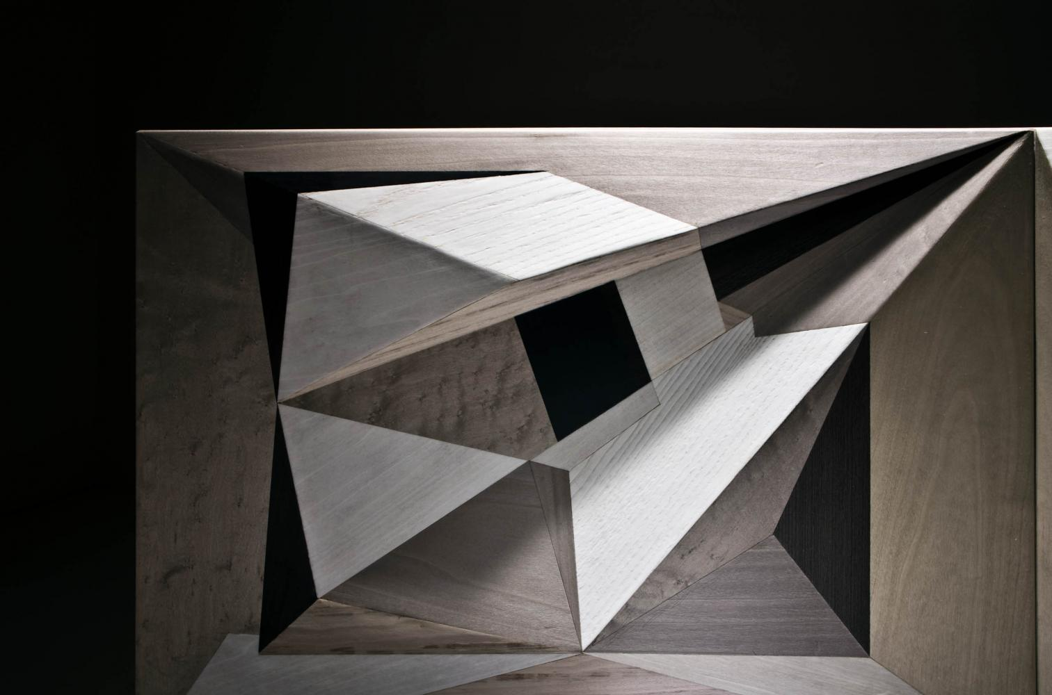 laurameroni intarsia luxury limited edition collection modern design sideboard by marcello Jori realized with inlay