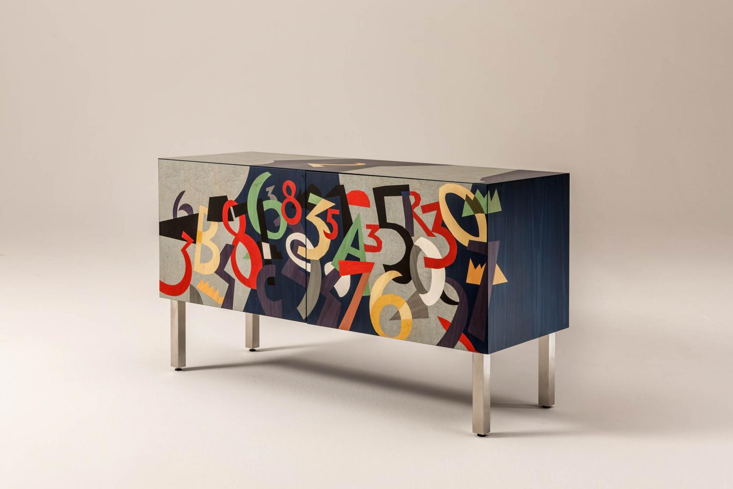 Modern limited edition sideboard in wood with inlays designed by Ugo Nespolo for luxury homes