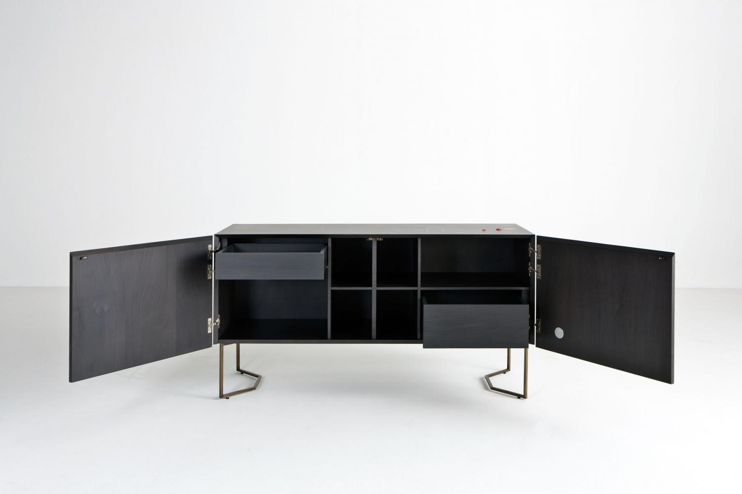 Modern limited edition sideboard in wood with inlays and brass legs designed by Fausta Squatriti for luxury home.