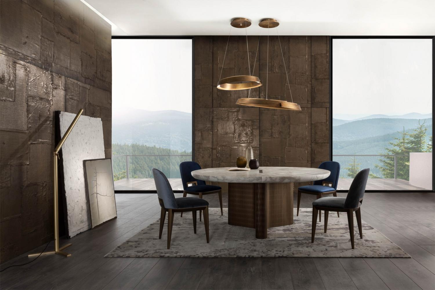 modern living room with custom made modular luxury round table in marble and wood