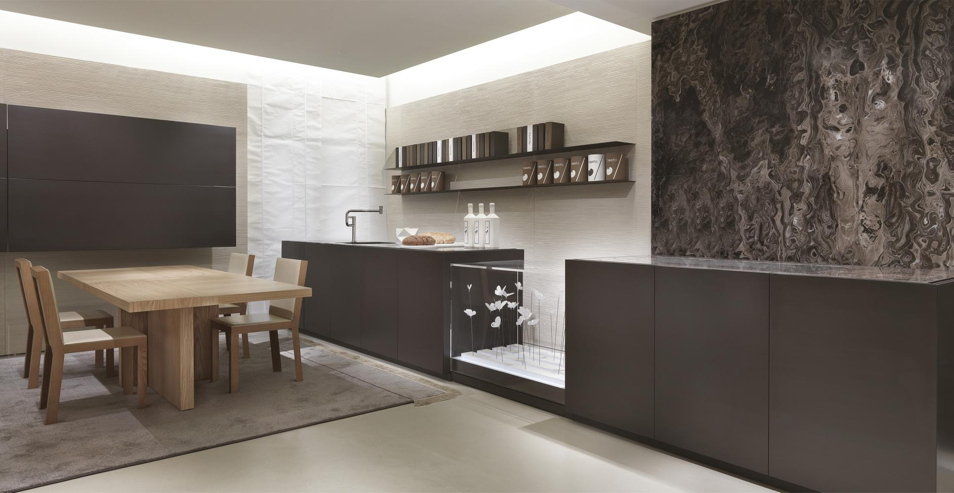 Bespoke luxury modern kitchen in brushed matt lacquered