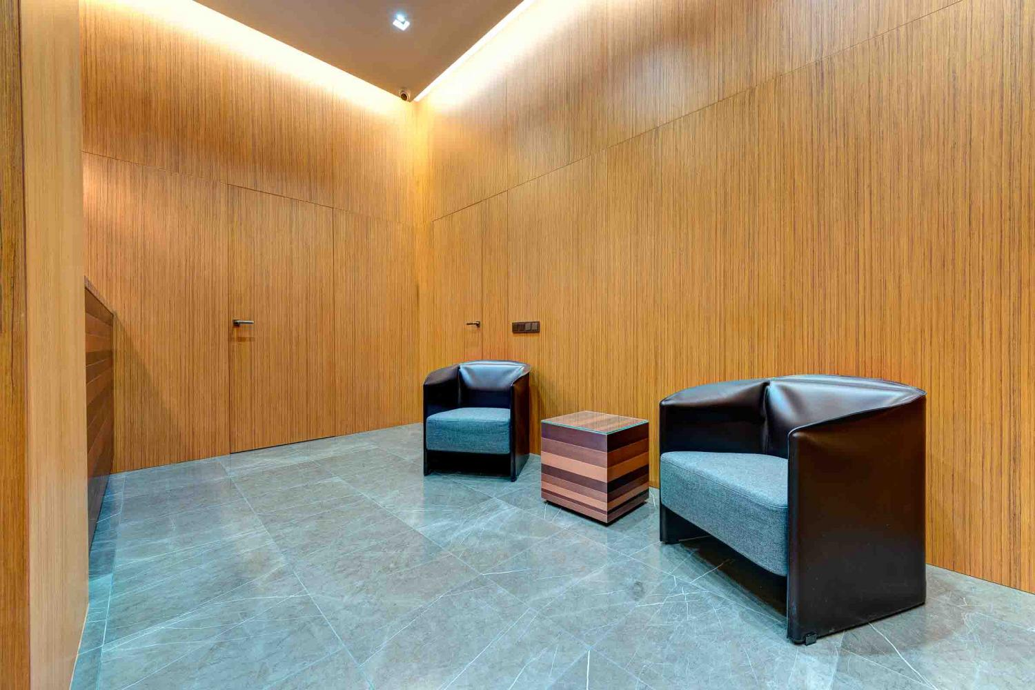 laurameroni italian handmade luxury wall panels in teak wood can decorate office and public spaces