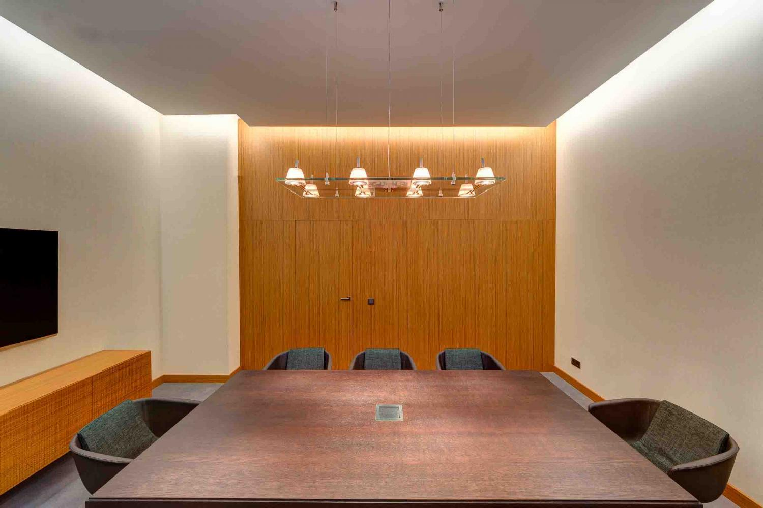 the laurameroni made in italy luxury wall panels in teak wood can decorate office and public spaces