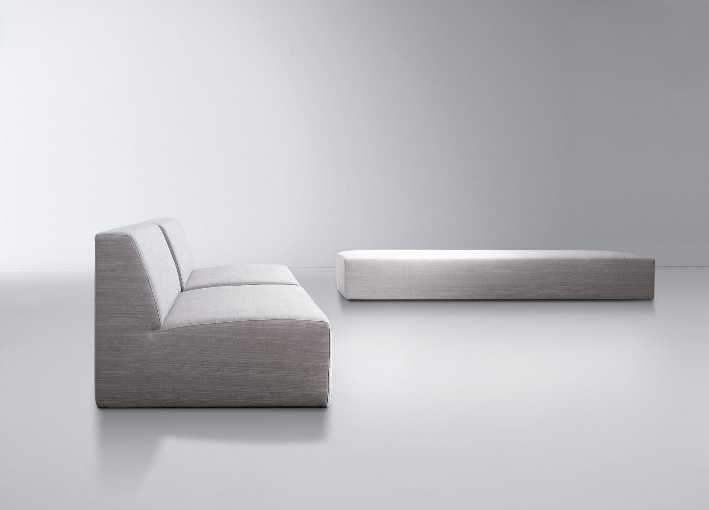 Modern bench with minimal design available in leather, fabric or velvet