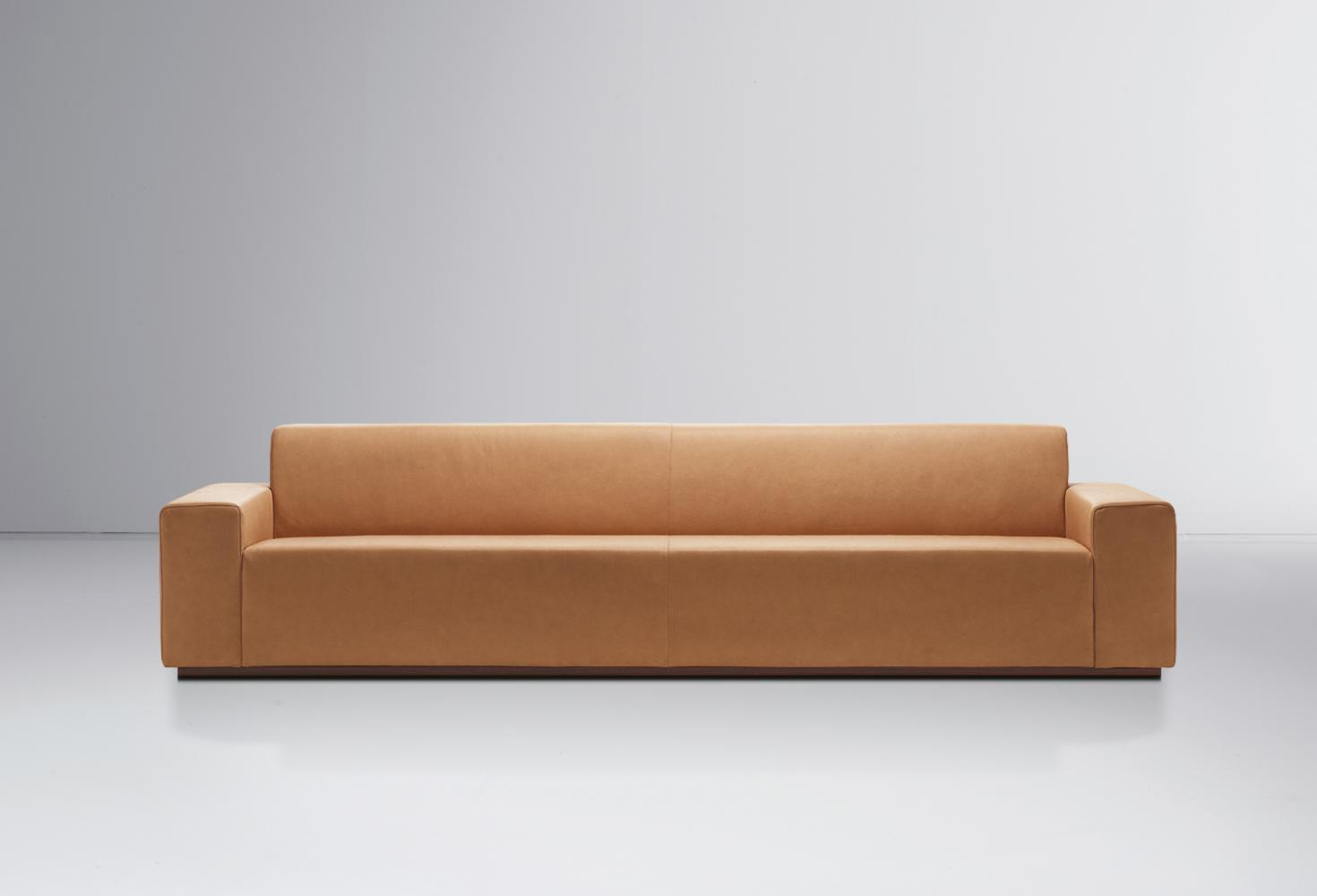Largo is a modern sofa with minimal design available in leather, fabric or velvet