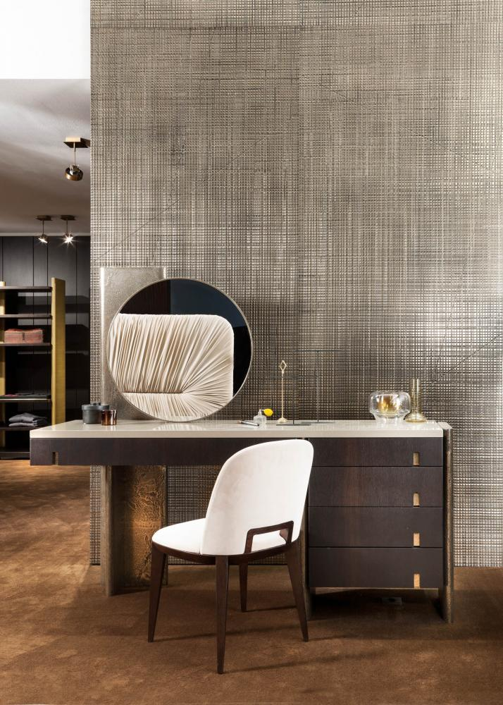 laurameroni modern luxury dressing table in heat-treated oak, liquid metal and glossy lacquered top