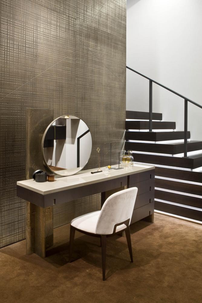 laurameroni modern luxury vanity desk in heat-treated oak, liquid metal and glossy lacquered top