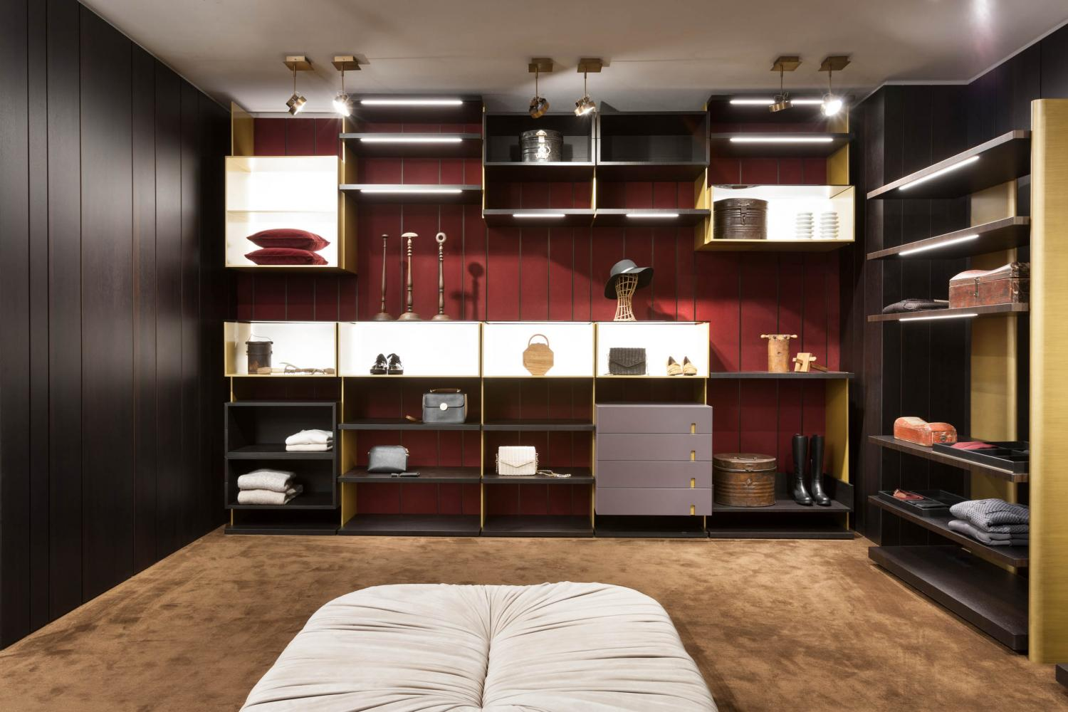laurameroni custom made line walk-in closet system in heat-treated oak and lacquered brass finish