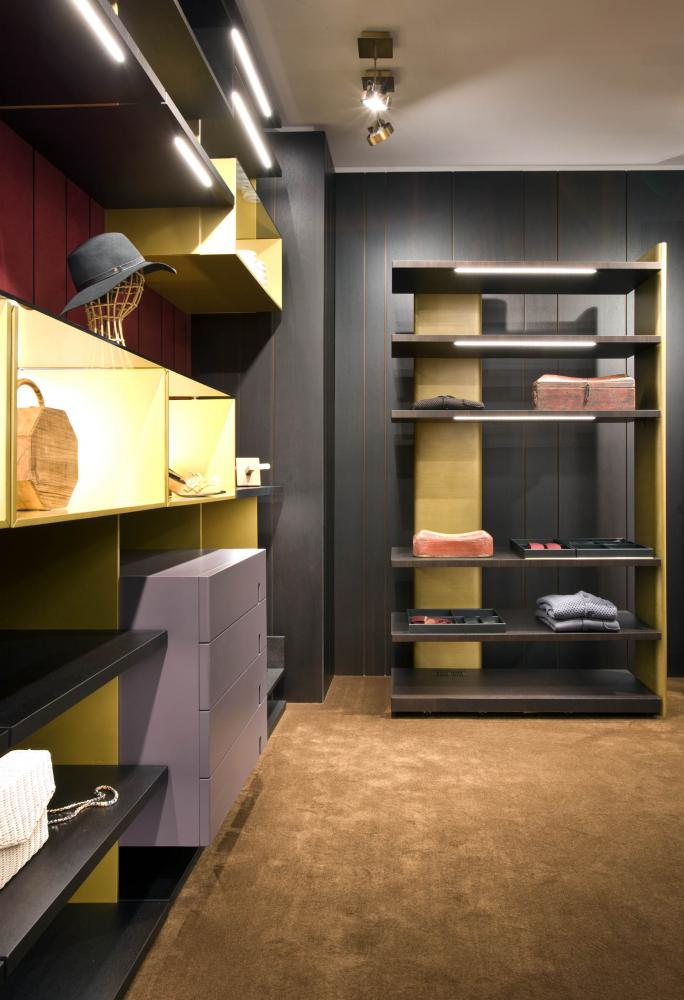 laurameroni line walk-in closet system in heat-treated oak and lacquered brass finish made to measure