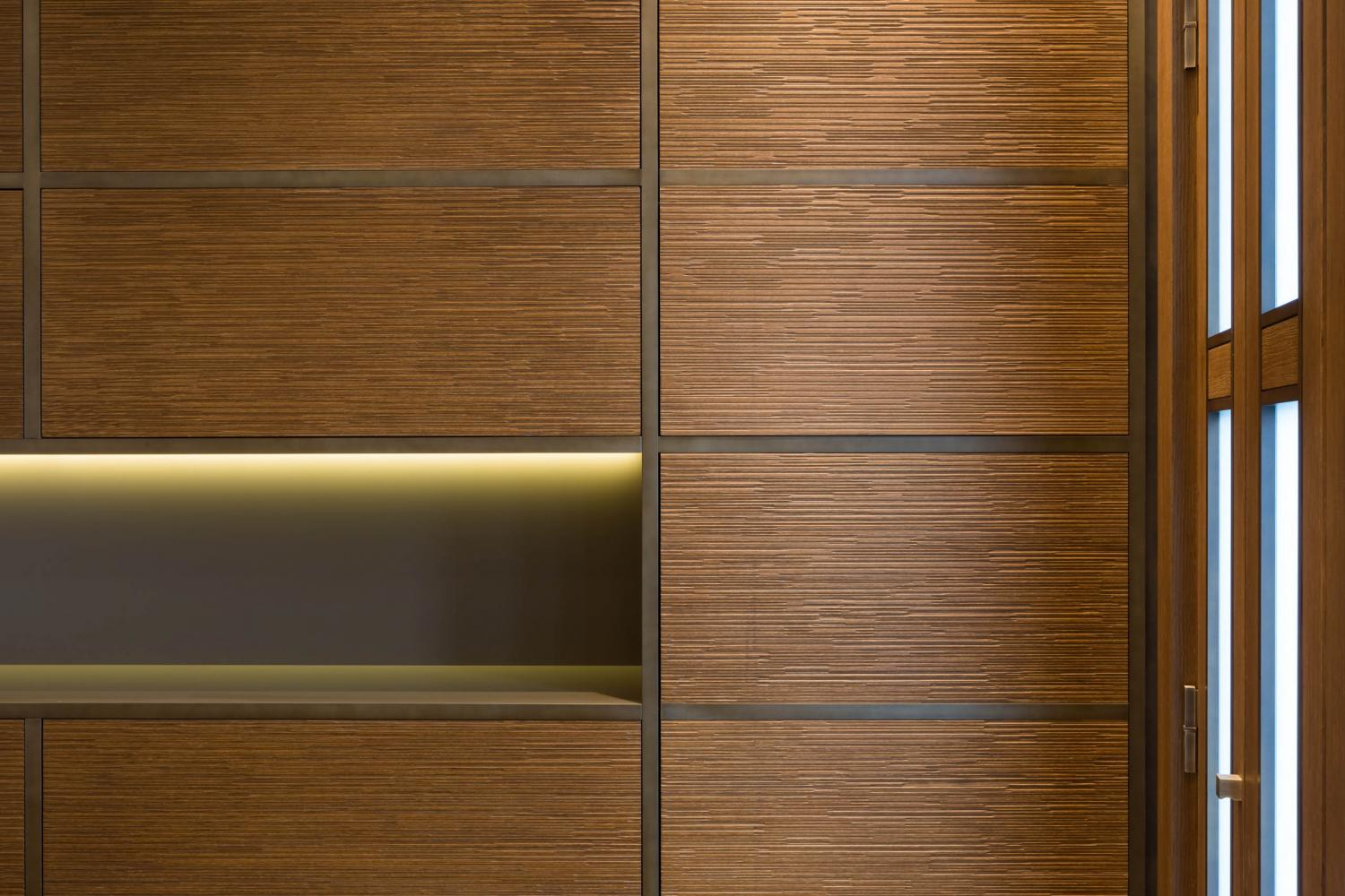 Luxury private apartment in Lugano, decorated with Laurameroni Decor Wall Panels Boiserie in carved, textured wood