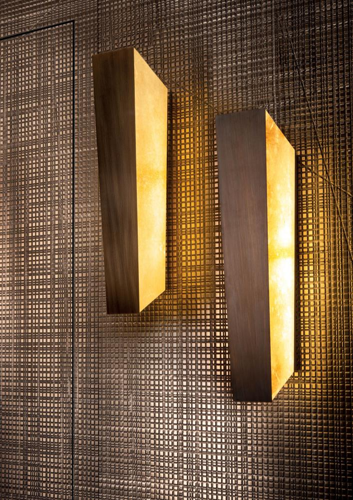 Modern led wall lamp in parchment and burnished brass for luxury home