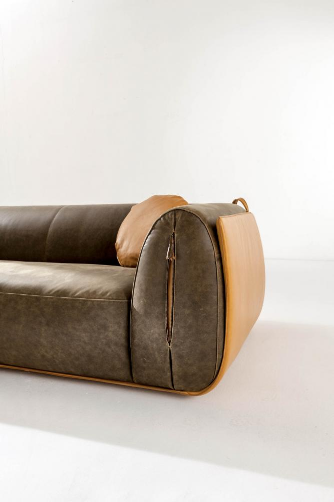 luxury modern comfortable leather sofa in nubuk brown colour