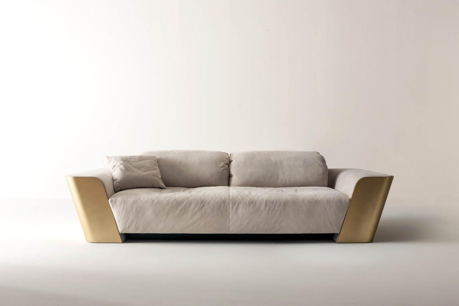 luxury modern design 2 seater sofa in white nubuk leather and gold lacquered structure