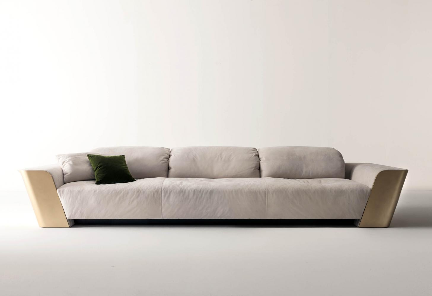 luxury modern design 3 seater sofa in white nubuk leather and gold lacquered structure