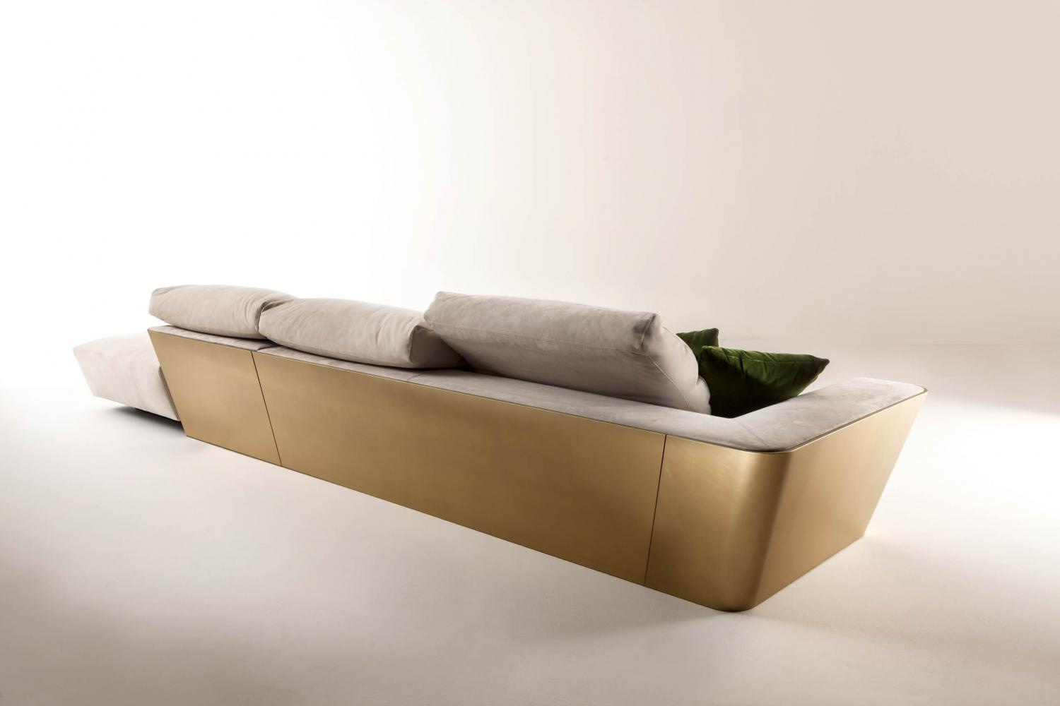 luxury modern design sofa with chaise longue in white nubuk leather and gold lacquered structure