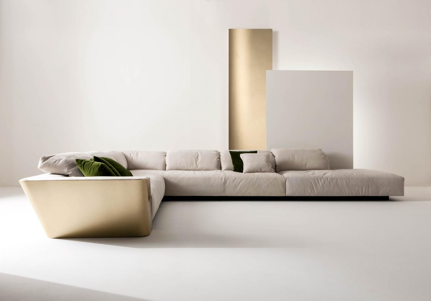 luxury modern design angular sofa in white nubuk leather and gold lacquered structure
