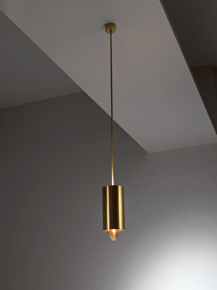 Ceiling hanging luxury lamp MF 40 with satin brass tubular structure