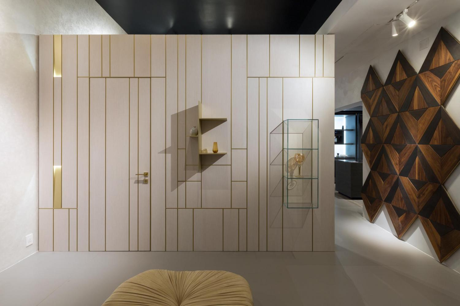 line collection modern wall paneling system in white lacquered wood