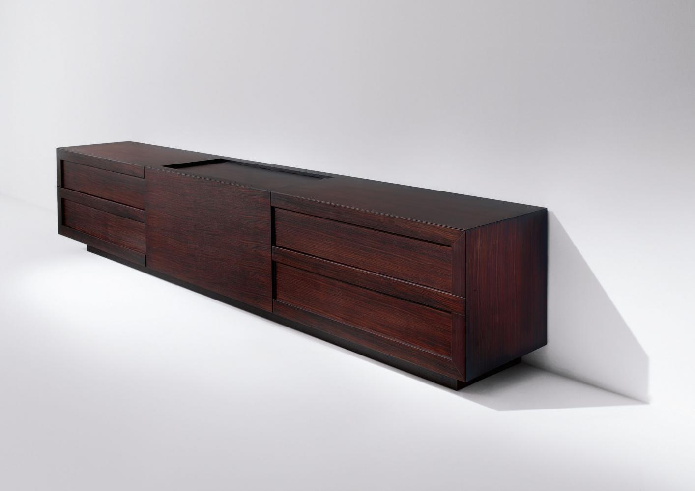 Custom made modern design sideboard in reosewood natural wood